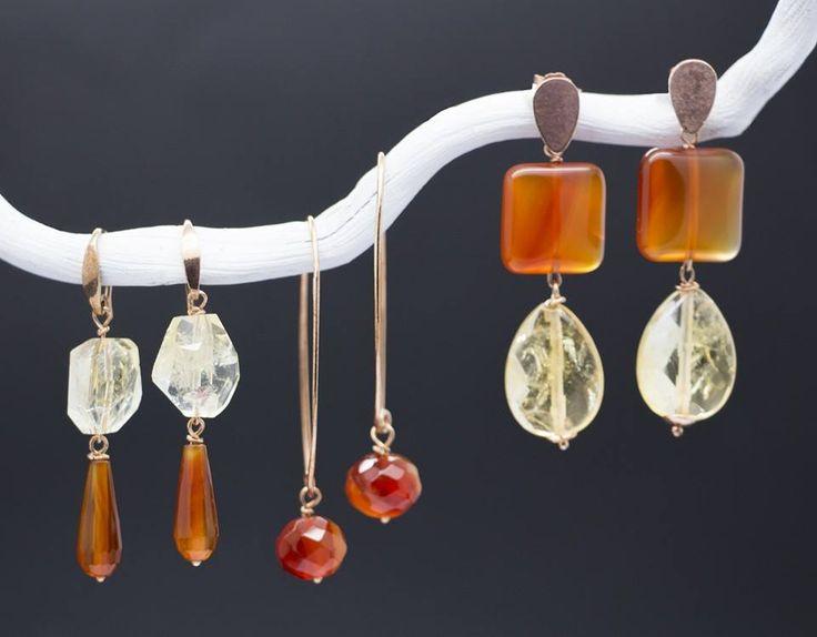 """""""Composizione di orecchini arancio rosso e giallo con rifiniture in argento bagnato in oro rosa, senza Nichel"""". #necklace #fashion #jewelry #earrings #shopping #girl #woman #palette"""