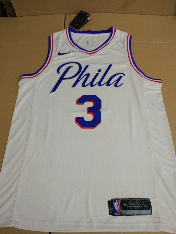 0f9c51c7090b Men 3 Allen Iverson Jersey White Philadelphia 76ers Jersey Swingman ...