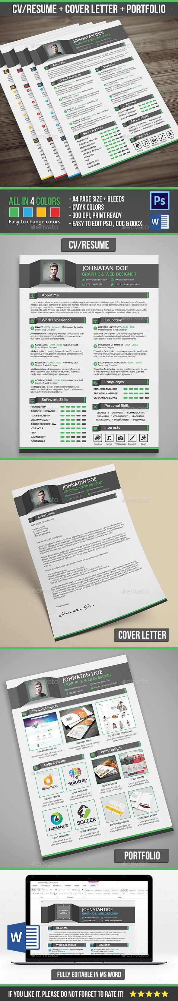Professional Resume CV + Cover Letter + Portfolio — Photoshop PSD #job #curriculum vitae • Available here → https://graphicriver.net/item/professional-resume-cv-cover-letter-portfolio/13576092?ref=pxcr
