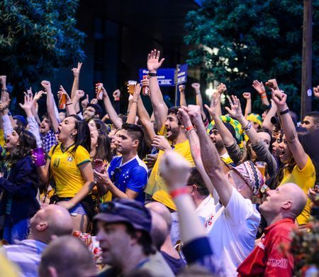 Brazilians Celebrate Goal at World Cup Photo by Daniel Moore — National Geographic Your Shot