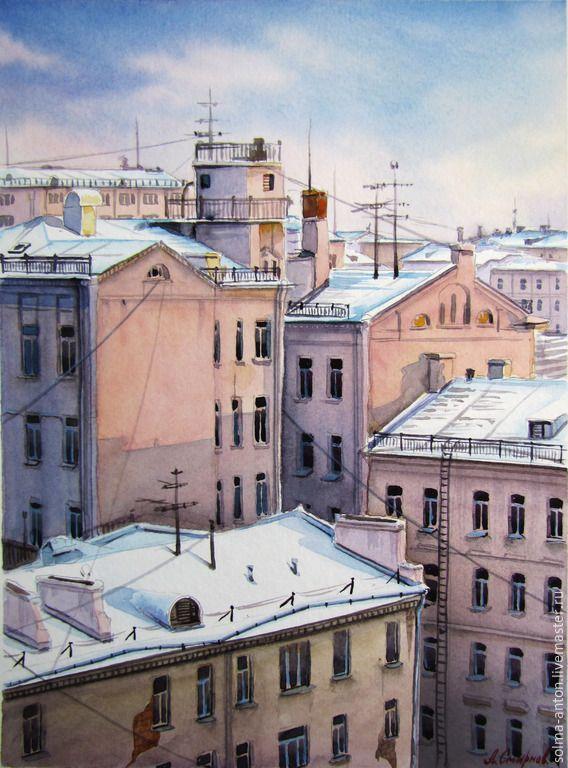 """Купить Акварель"""" Печатников переулок"""" - разноцветный, город, городской пейзаж, дома, крыши, акварель"""