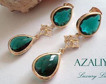 Smaragd Grün Ohrringe mit Zirkonsternen in Gold. Azaliya Luxury Line