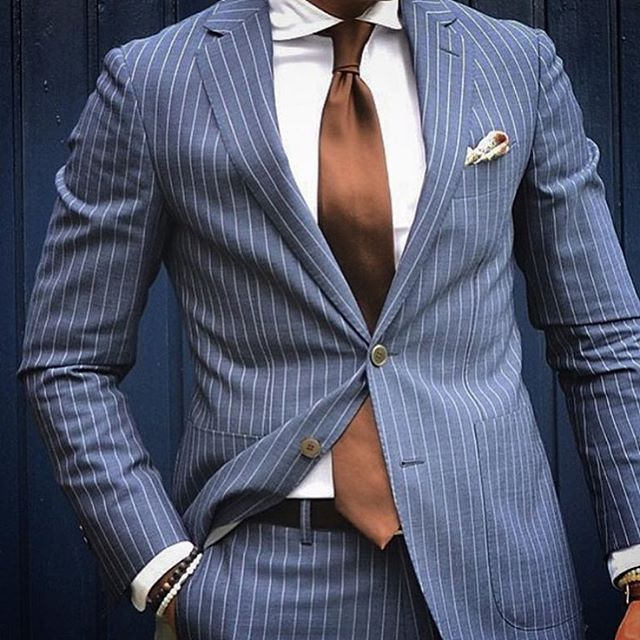 Blue Pinstripe Suit with Patch Pockets