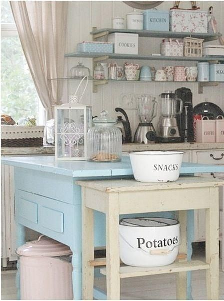 Cottage style decor kitchen, white, blue, pink, open shelves, table as island; Upcycle, Recycle, Salvage, diy, thrift, flea, repurpose! For vintage ideas and goods shop at Estate ReSale ReDesign, Bonita Springs, FL