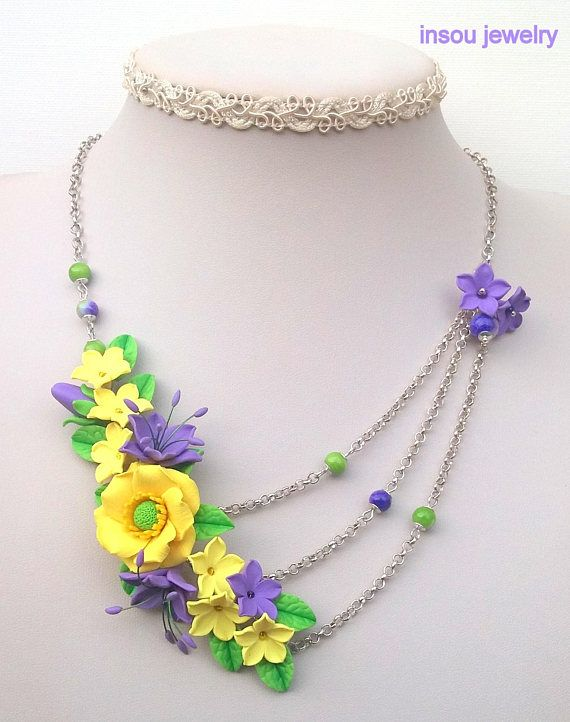 Floral Flower Necklace Spring Jewelry Flower Jewelry