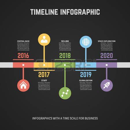linea de tiempo: Línea de tiempo de diseño de plantillas de Infografía. Con las etiquetas de papel. Idea para mostrar información, clasificación y estadísticas con el estilo original y moderno. Vectores