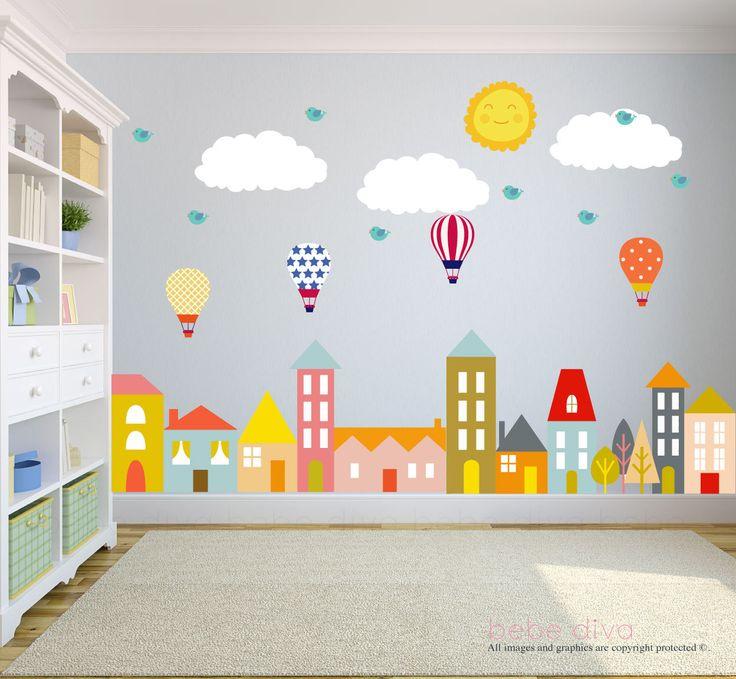 City Wall Decals, Wall Decals Nursery, Nursery Wall Decal, Kids Wall Decal, Wall Decal, Hot Air Balloon Wall Decal, Wall Decal Nursery