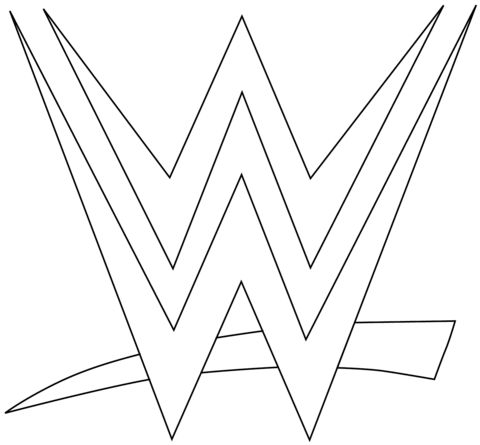 WWE Logo coloring page from WWE category. Select from 24652 printable crafts of cartoons, nature, animals, Bible and many more.