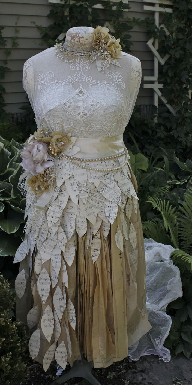 Vintage wedding dress made from pattern paper and music sheets