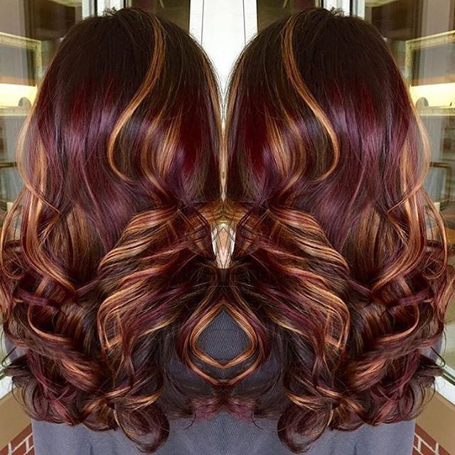 Burgundy Hair With Copper Highlights Hair Pinterest Copper
