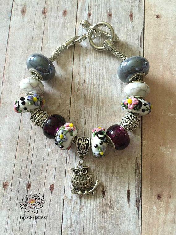 Silver Owl Charm Bracelet Owl Bracelet Euro Charm by MysticGemz