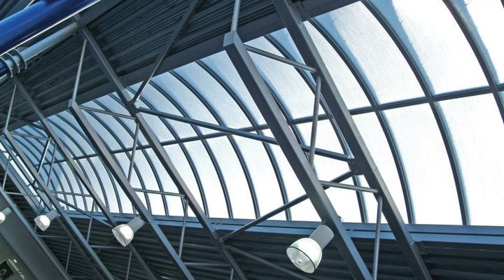 Mercedes Dealership Project with Xtralite Xspan polycarbonate low rise barrel vault skylights #architecture #design