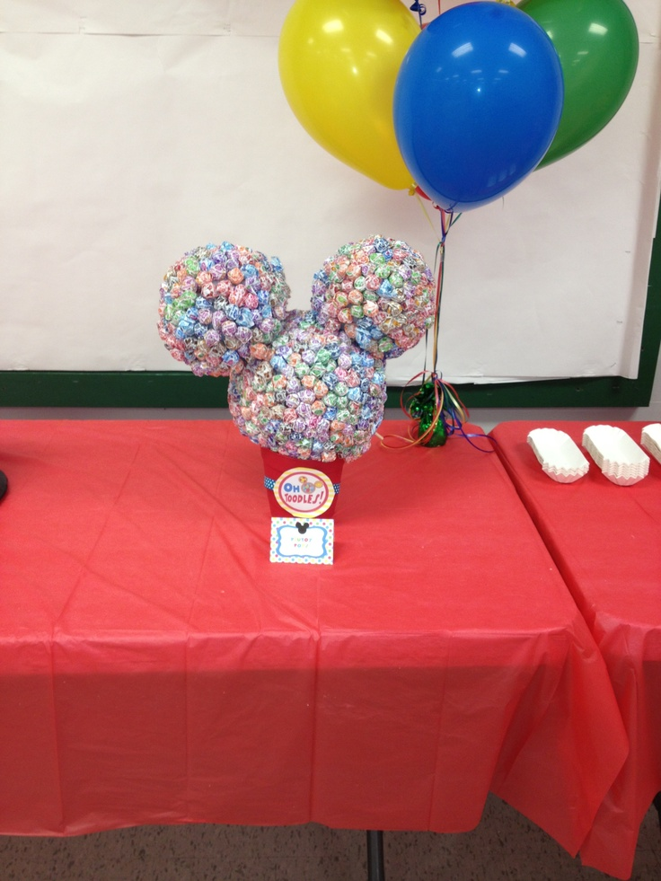 Mickey Mouse head made out of styrofoam balls and dum DumsKids Plays, Mouse, Birthday Parties, Kids Ministry, 1St Birthday, Flower Pots, Clubhouse Parties, Flower Pot Styrofoam Ball, Dum Dums Maybe