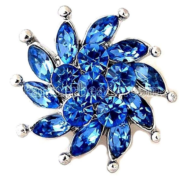 Silver Blue Rhinestone Windmill 20mm Snap Charm For Ginger Snaps Magnolia Vine