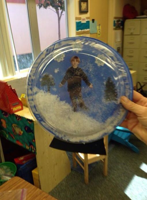 Paper Plate Snow Globe Craft Christmas Recipes Crafts