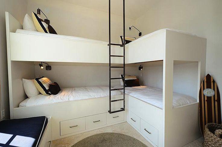 Bunk Rooms L-shaped | corner bunkbeds, white bunk bed, corner bunk beds, bunkroom, bunk room ...