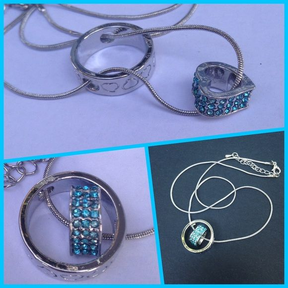 """Blue Swarovski Heart Necklace 3 available Heart that dangles in the middle of a ring that has hearts going around.. Very stunning. WGP on 18"""" & 2 3/4"""" extension. New. Please don't buy this listing. Jewelry Necklaces"""