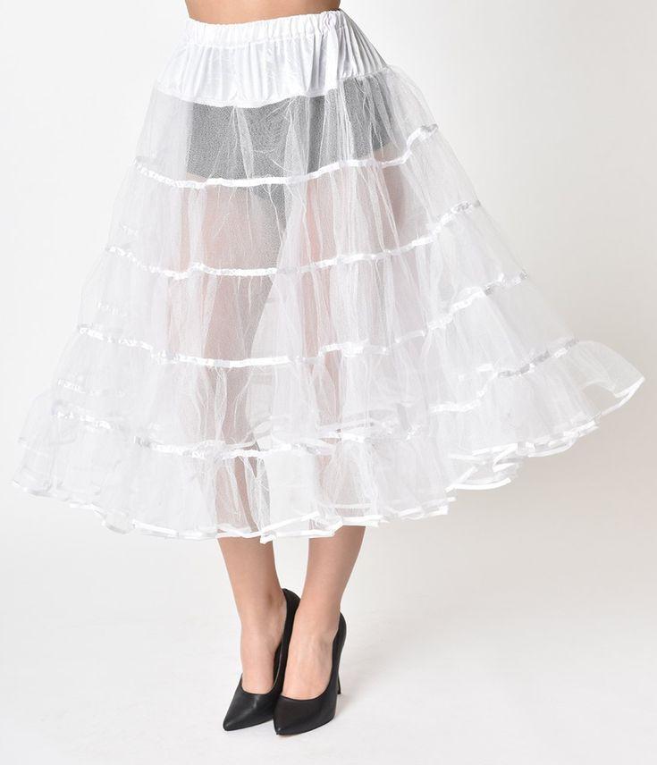 1950s Style White Tea Length Petticoat Crinoline