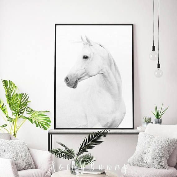 Horse print printable wall art poster black and white horse