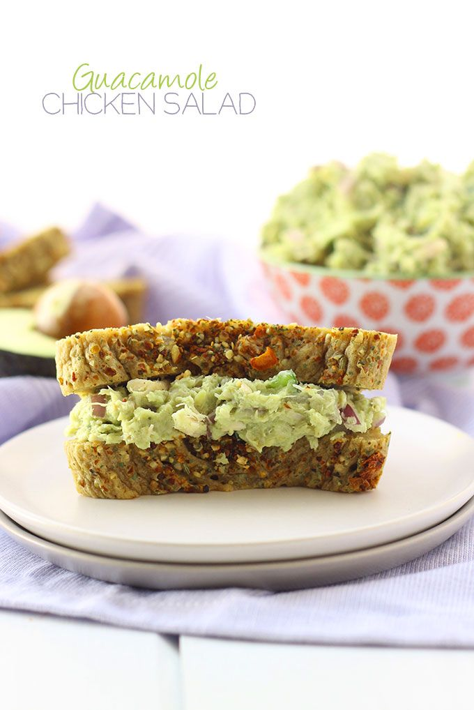 Guacamole Chicken Salad - an easy, healthy and delicious lunch recipe. Using pre-made chicken your new favorite sandwich is ready in less that 5 minutes!