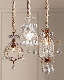 I like this idea too, Mini Chandeliers Horchow--over the masterbed's night stands