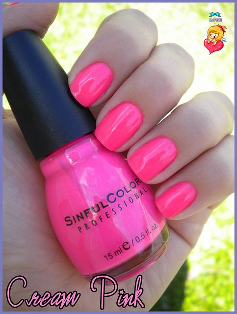 Sinful Colors Cream Pink. A beautiful hot pink color. Suitable for Summer. But you don't have to wear polish on what the season is. Maybe you do it on the way you feel? So I definitely recommend this nail polish. Even though I've never had it or have seen it instores, I believe that it is just as pretty as it looks on this persons nails as it looks on yours!