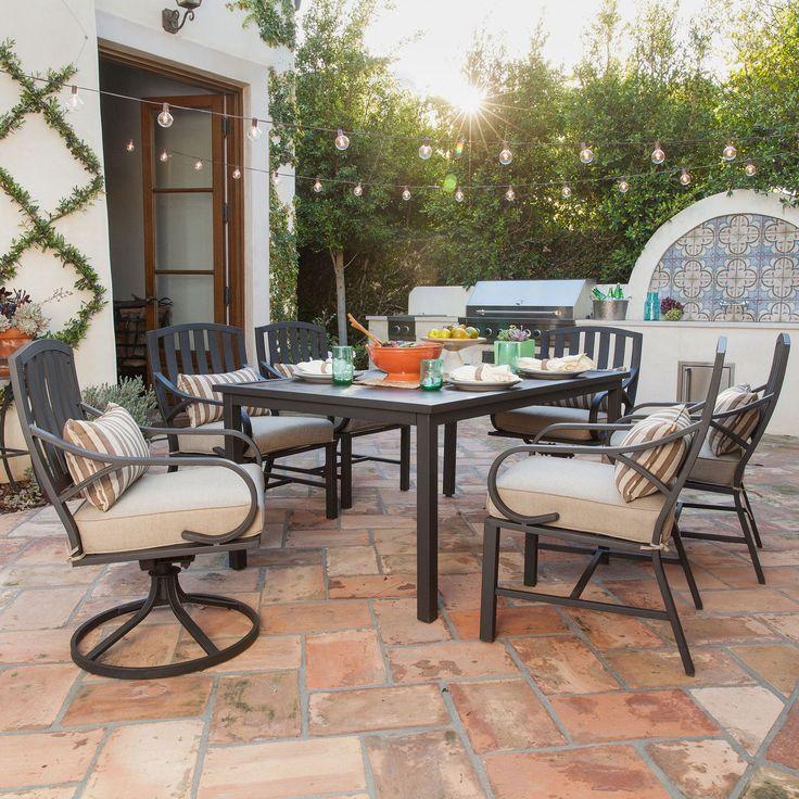 Patio Furniture Sets Clearance 7 Piece Cushion Dining Aluminum Swivel  Rockers
