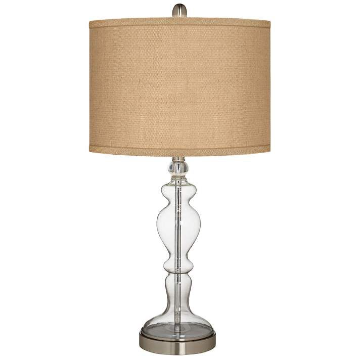 Woven Burlap Apothecary Clear Glass Table Lamp