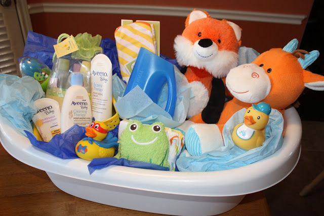 Baby Bath Baby Shower Gift Idea ... the blog shows how to fix up this adorable inexpensive bath tub with tons of goodies for an awesome shower gift!