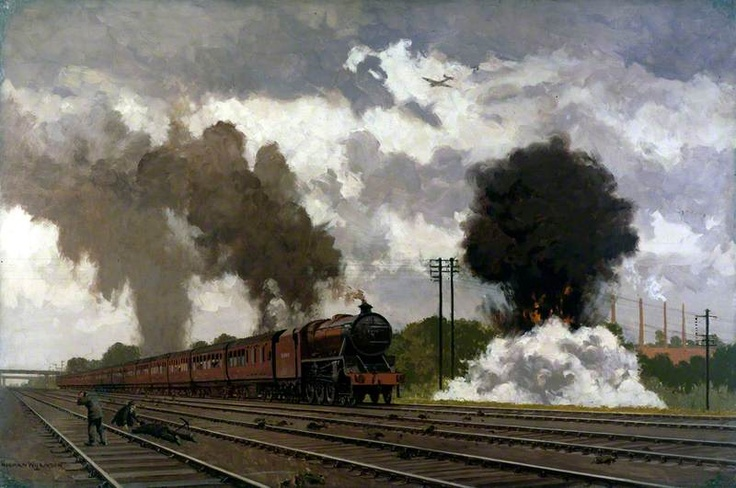 London, Midland and Scottish Express Train Being Bombed near Bletchley, October 1940 (The LMS at War Series)  by Norman Wilkinson        Date painted: 1940      Oil on canvas, 76 x 114.3 cm      Collection: National Railway Museum