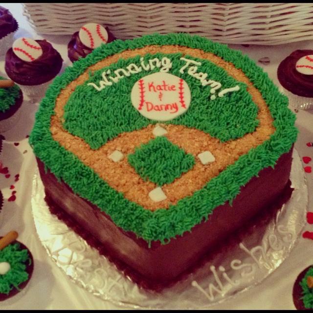 Baseball themed bridal shower cake!