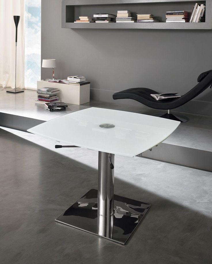 Tavolo allungabile Square con base in metallo cromato e