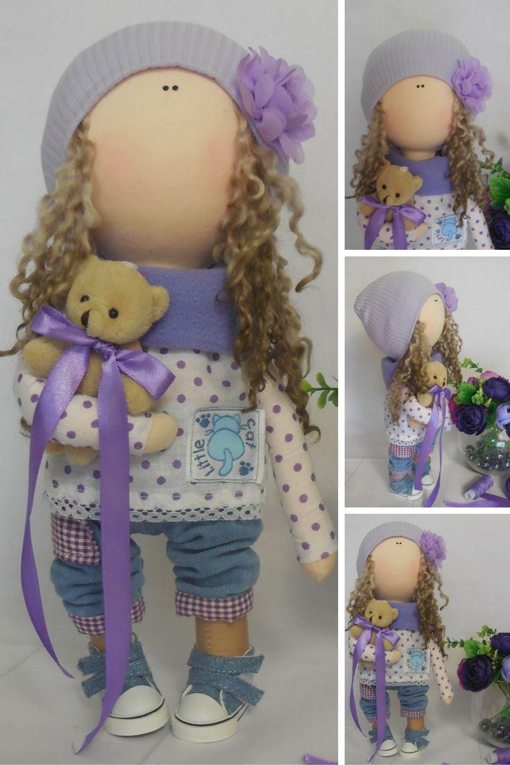 Handmade doll Tilda doll Textile doll Fabric doll Purple doll Soft doll Cloth doll Rag doll Interior doll Baby doll Nursery doll by Maria
