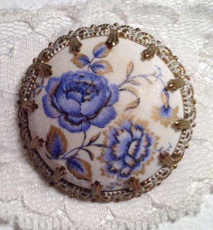 Vintage 1950's  Blue Floral Enamel Brooch signed West by 4Seas, $22.00
