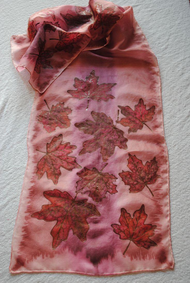 Silk scarf The Autumn Hedvábný šál Podzim 35x130 cm