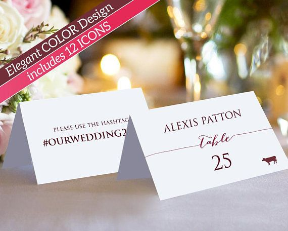 Double Sided Place Card Template with Meal Icons: Instantly download, edit and print your own place cards for weddings, receptions, and special events. Twelve menu icons are included. These place cards are folded (tent), with room on the back for your own wording or hashtag. These templates are for printing onto quality card stock and can be trimmed on the crop marks.