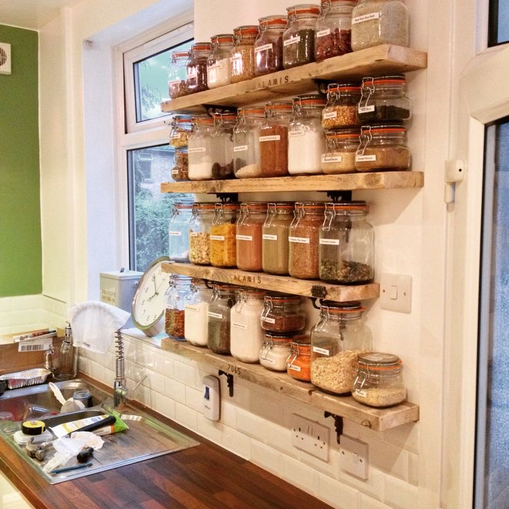 Kilner jar storage shelves from old scaffold boards and cast iron brackets upcycled for a great look in our kitchen remodel spice racks
