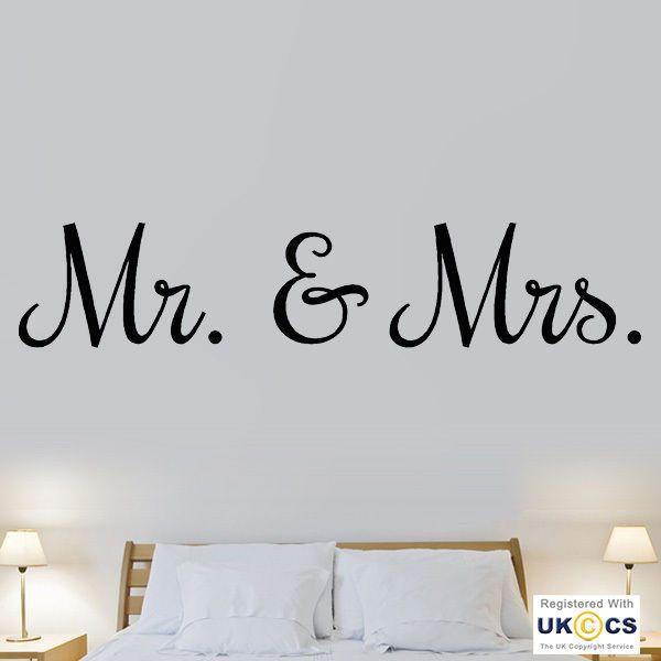 Mr Mrs Love Marriage Bedroom Quote Wall Art Stickers Decals Vinyl Decor Room Hom