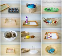 Montessori toddler work 15 to 20 months. Easy ideas for Montessori toddlers.