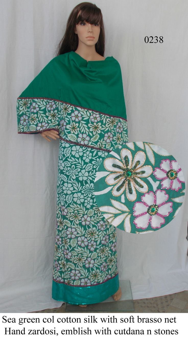 Sea green colour cotton silk with soft brasso net,  Heavy Hand Zardosi work with cutdana and sequins