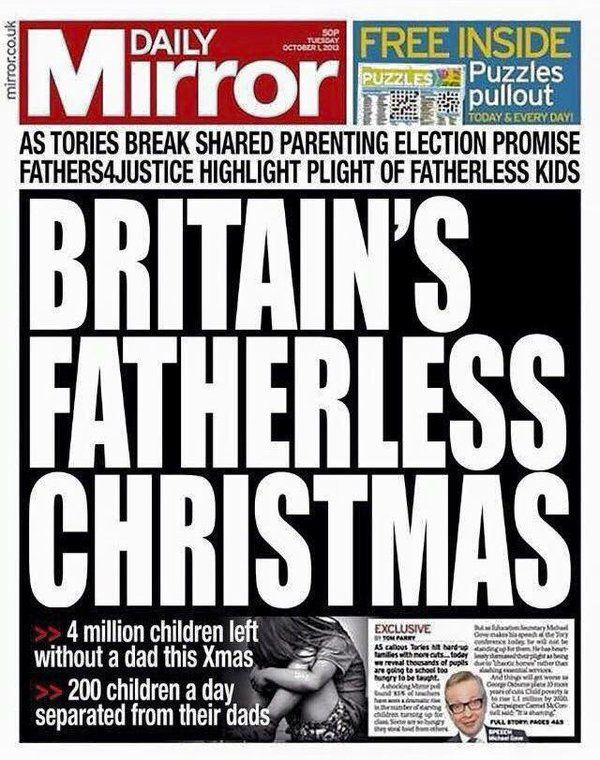 ΣΥΓΑΠΑ ΗΜΑΘΙΑΣ: 4 εκατομμύρια παιδιών, στο Ηνωμένο Βασίλειο δεν θα έχουν τον πατέρα τους για τα Χριστούγεννα (1 εκατομμύριο στην Ελλάδα):
