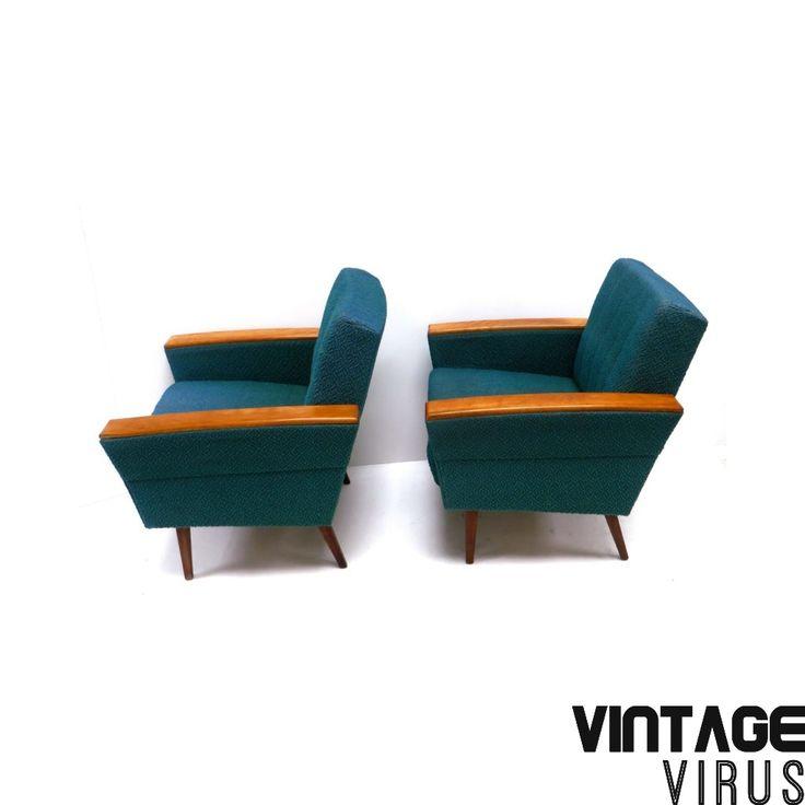 Vintage fauteuils petrol / turquoise bekleding