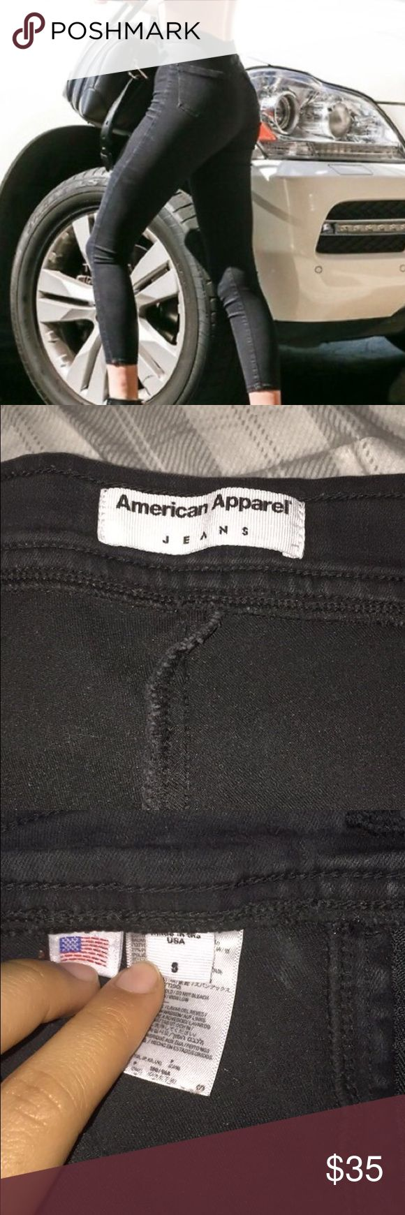 Black American apparel ankle jeans Practically new American apparel ankle jeans, have the same top as easy jeans. Super comfy. Will take offers! American Apparel Jeans Ankle & Cropped