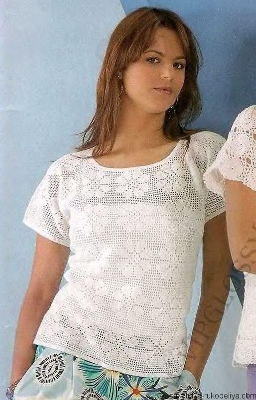 филейное вязание крючком блуза схемы вязание крючком женские блузы