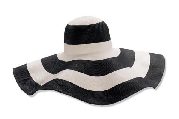 striped large brim hat