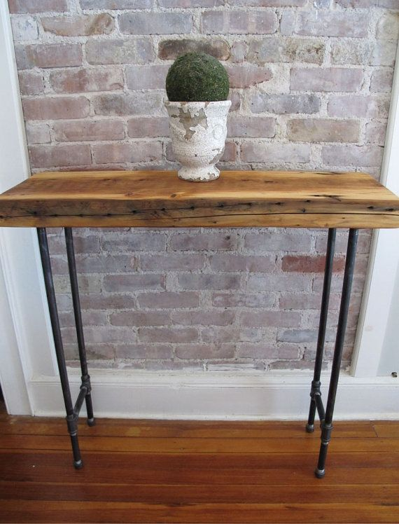 Items Similar To Rustic Console With Iron Pipe Legs,Reclaimed Wood From  NYC, Pipe Leg Entry Table On Etsy