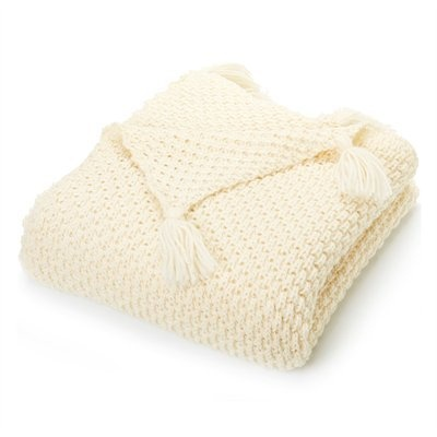 Diamond Cable Knit Throw Ivory