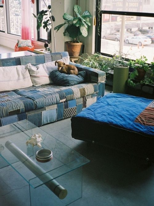 Denim patchwork couch