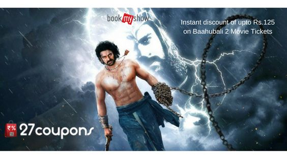 #Bookmyshow #offer - Instant discount of upto Rs.125 on Baahubali 2 Movie Tickets.  #entertainment #movies #onlinebooking #tickets http://ziplr.in/lY5GU2