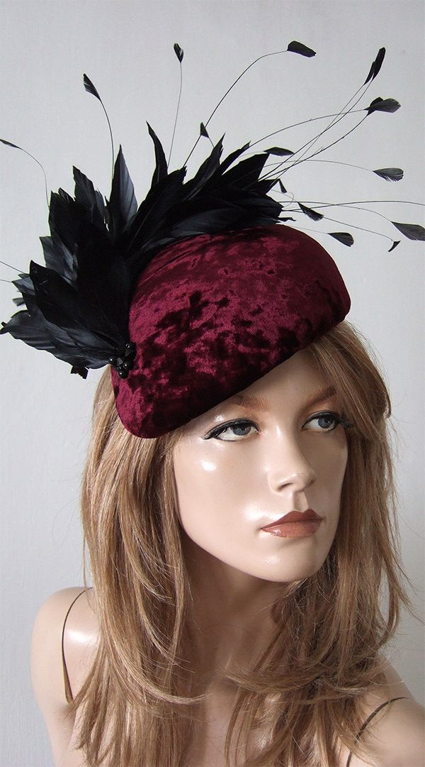 ec4c3d09ba0979 Burgundy Velvet Hat for Winter Weddings. Winter Wedding Mother of the Bride  Hats. Velvet Beret with Black Feathers. Fascinators for Winter Wedding  Guest.